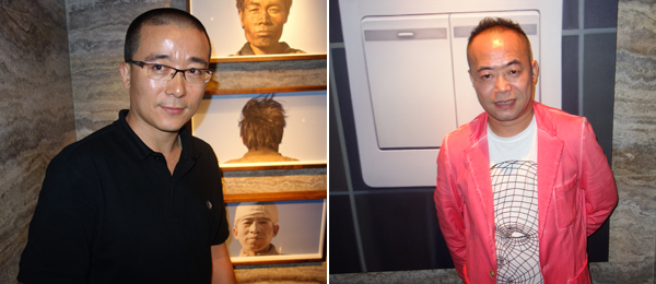 Left: Artist Zhao Liang at Duddell's. Right: Artist Chen Wenbo at Duddell's.