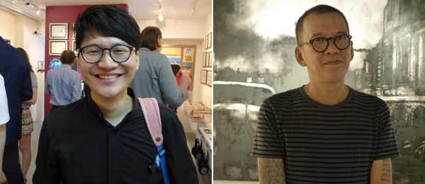Left: Artist Trevor Yeung. Right: Artist Agus Suwage at Yallay Gallery. (Photos: Kate Sutton)