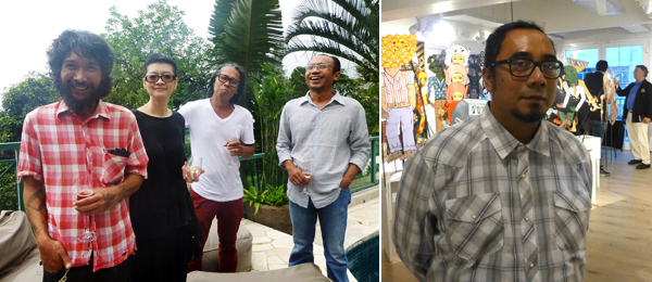 Left: Artists Dwi Setianto, Lie Fhung, Eddi Prabandono, and S. Teddy Darmawan. Right: Curator Rifky Effendy at Yallay Gallery. (Photos: Kate Sutton)