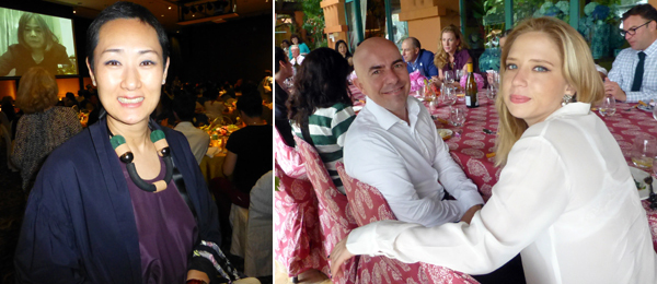 Left: Singapore Tyler Print Institute's Emi Eu. Right: Adviser Mark Hughes with filmmaker Isabel Marden. (Photos: Kate Sutton)