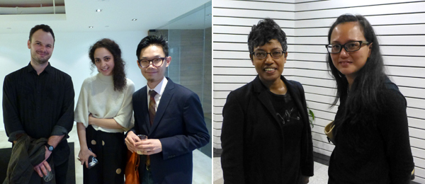 Left: Critic HG Masters with filmmaker Julia Trotta and artist Isaac Leung. Right: Singapore Art Museum curator Susie Lingham with curator Kim Ong. (Photos: Kate Sutton)