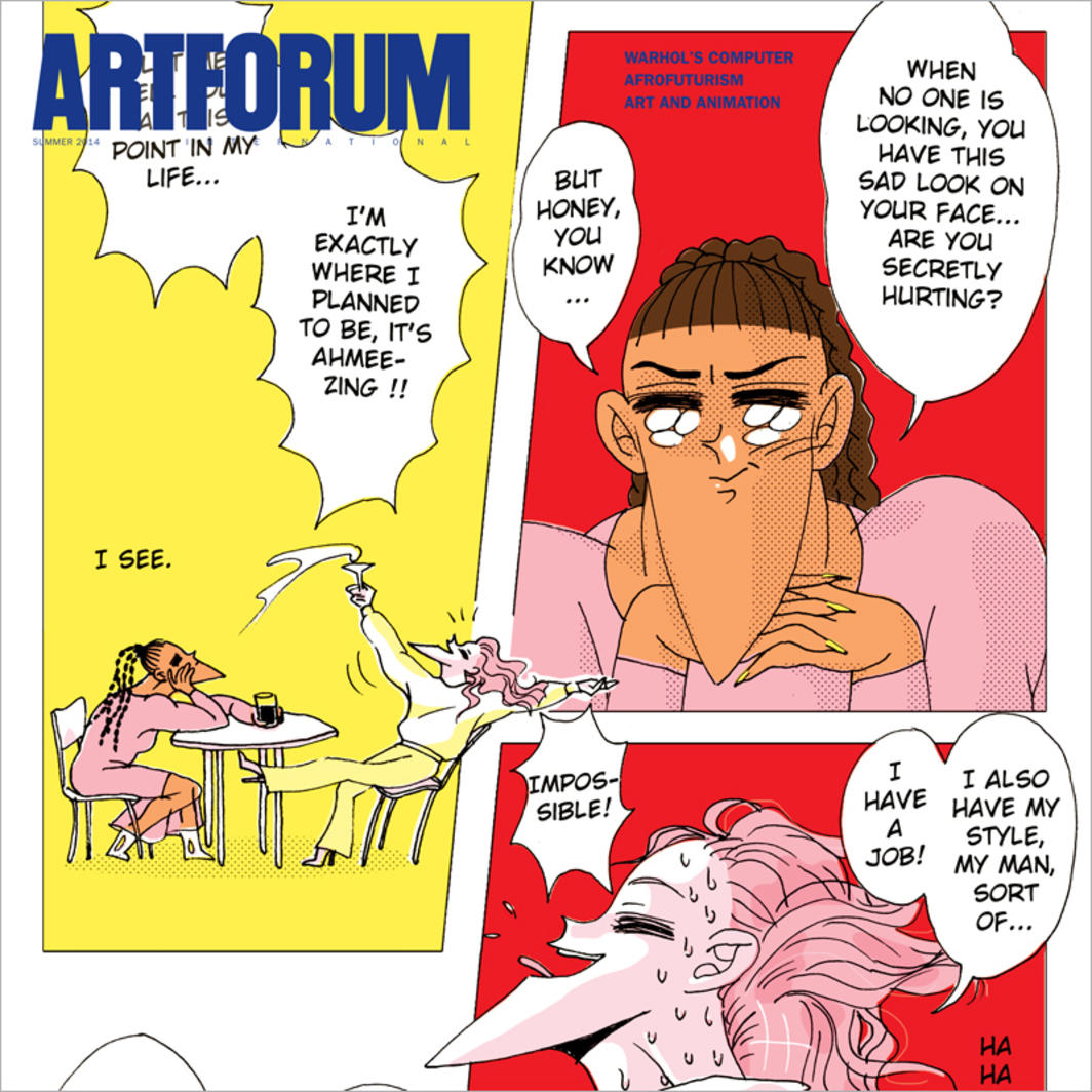 Cover: Julien Ceccaldi, I Am My Goals (detail), 2014. Comic made for Artforum.