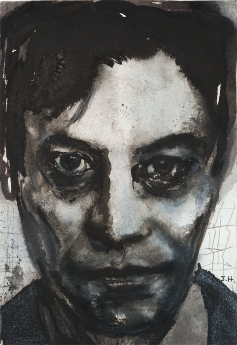 "Marlene Dumas, Jan Hoet, 1992, ink and crayon on paper, 8 1/8 x 5 1/4""."