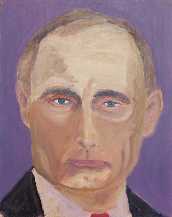 "George W. Bush, Vladimir Putin, 2013, oil on board, approx 20 x 18""."