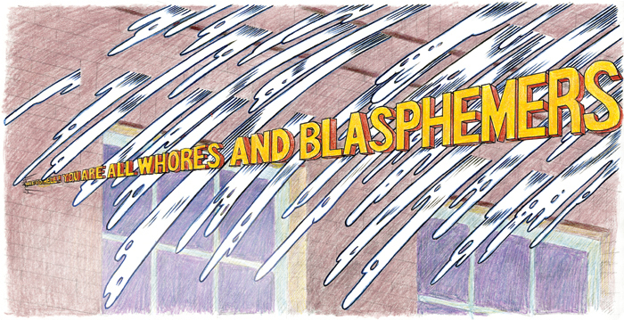 "Jim Shaw, color study for Whores and Blasphemers, 2014, black-and-white Xerox, ink, and colored pencil on paper, 8 1/2 x 17""."