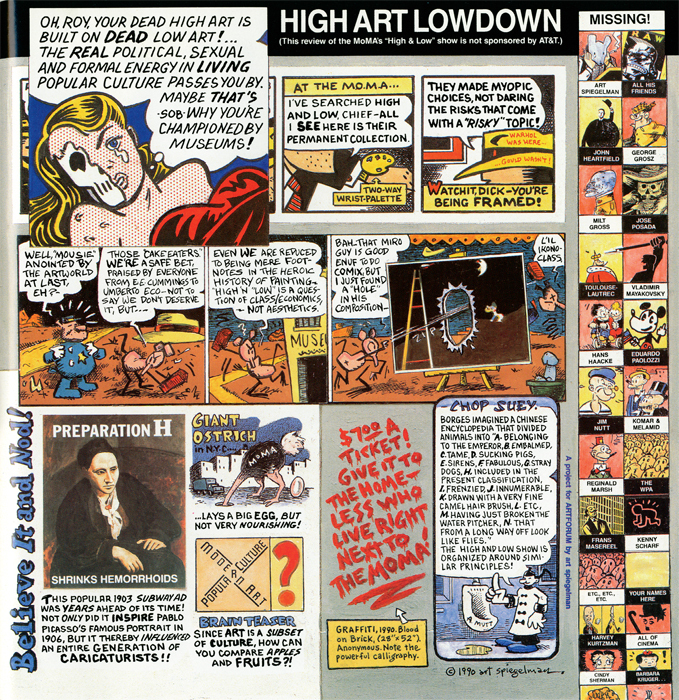 Art Spiegelman, High Art Lowdown. From Artforum, December 1990.