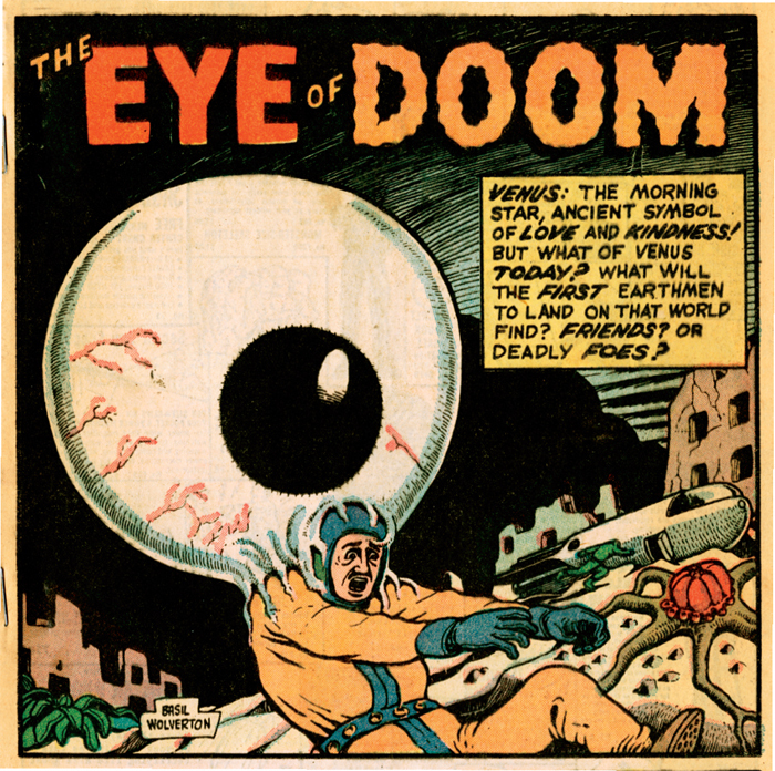 Splash panel from Basil Wolverton's Eye of Doom. From Mystic, no. 6 (Marvel, 1952).