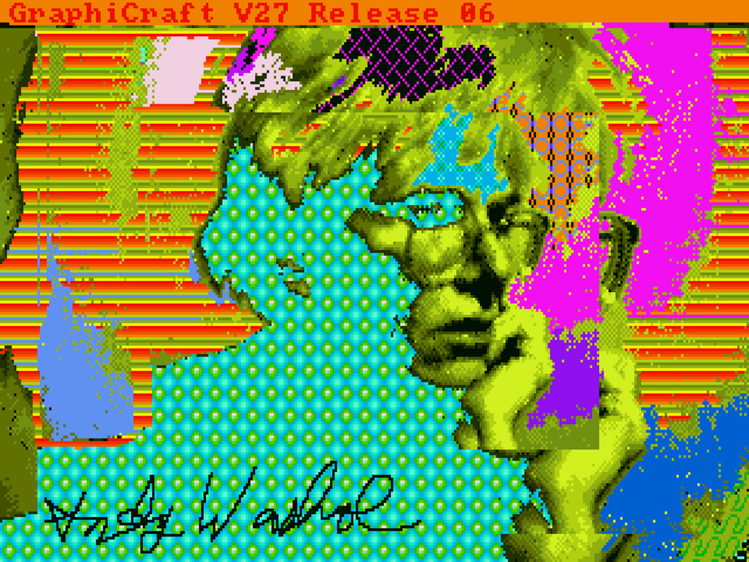 Andy Warhol, Andy2, 1985, digital image, from disk 1998.3.2129.3.4. Collection of the Andy Warhol Museum, Pittsburgh, Foundation Collection, Contribution The Andy Warhol Foundation for the Visual Arts, Inc. © The Andy Warhol Foundation for the Visual Arts, Inc./Artists Rights Society (ARS), New York.