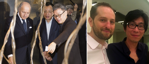 Left: French foreign minister Laurent Fabius with Yuz Museum founder Budi Tek. (Photo: Yuz Museum) Right: Armory Show director Noah Horowitz and artist Xu Zhen. (Except where noted, all photos: Ali Pechman)