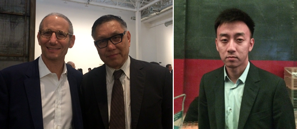 Left: Dealer James Cohan and curator Wu Hung. Right: Sifang Museum founder-director Lu Xun.
