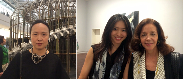 Left: Cao Dan, LEAP publisher. Right: Dealers Li Yan and Rachel Lehmann.