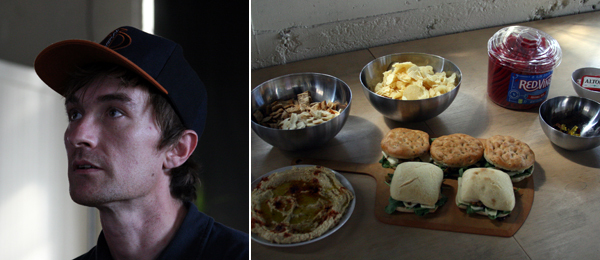 Left: Oliver Payne playing Desert Bus. Right: Snacks at 356 S. Mission Rd.