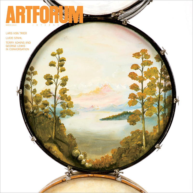 "Artforum March 2014 cover: Terry Adkins, Muffled Drums (detail), 2003–13, eleven found bass drums, mufflers, steel, 30' 3"" x 3' 1/2"" x 1' 7""."