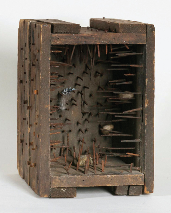"Robert Rauschenberg, Music Box (Elemental Sculpture), ca. 1955, wood crate, nails, stones, feathers, traces of metallic paint, 11 x 7 1/2 x 9 1/4""."