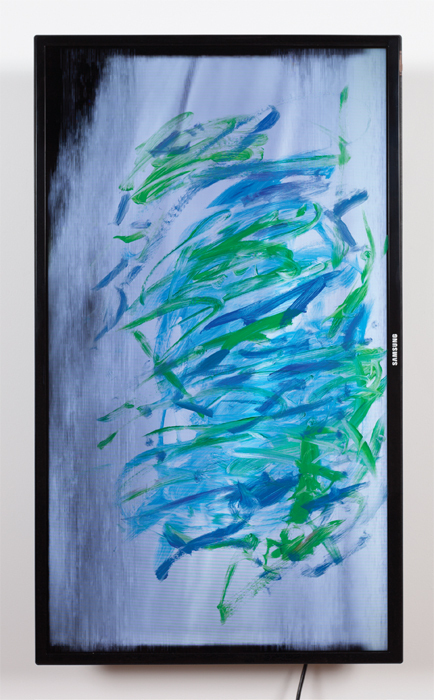 "Ken Okiishi, gesture/data, 2014, oil paint, flat-screen television, VHS transferred to digital video, color, sound, 73 minutes 35 seconds, 36 3/8 x 21 3/8 x 4 3/4""."