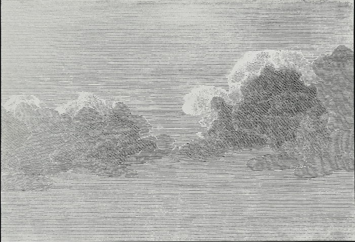 "Julien Crépieux, Cumulus d'après Canoe of Port des Français de Michel Blondela (1799), 2014, silk-screen, ink, and salt on tinted MDF, 31 1/2 x 46 7/8""."