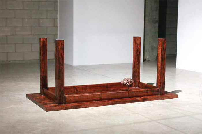 "Karthik Pandian, A cherry table with a walnut brain, 2014, cherrywood, walnut, 70 x 32 5/8 x 30""."
