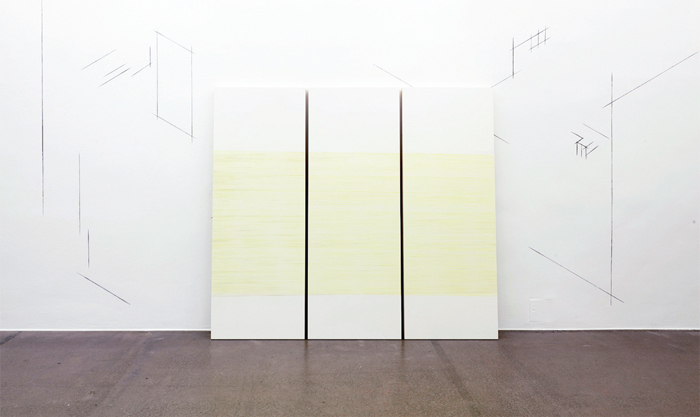 "View of ""Sofie Thorsen,"" 2014. Foreground: Screen 2, 3, 4, 2014. Background: Screens Within Screens/1 (detail), 2014."