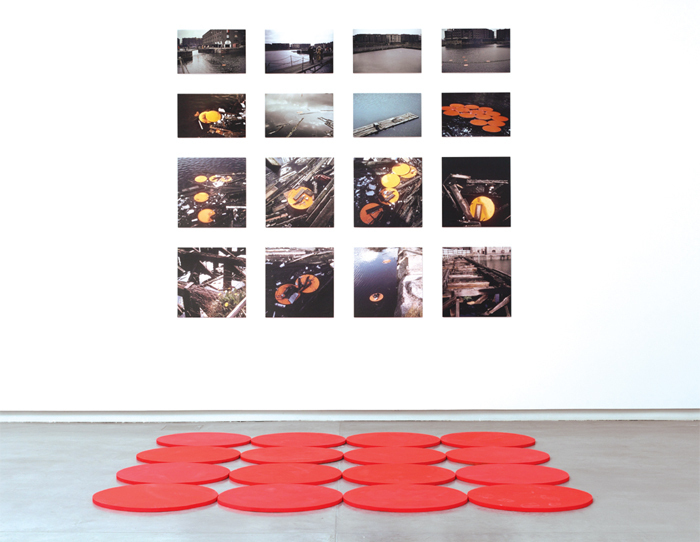 Rasheed Araeen, Chakras, 1969–70, sixteen C-prints, sixteen wood disks. Installation view.