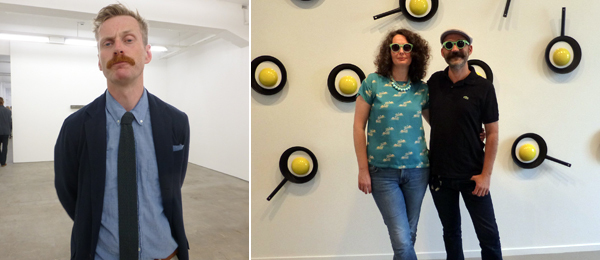 Left: Dealer Eivind Furnesvik at Standard Gallery. Right: Curator Marianne Hultman with artist Allen Grubesic at Oslo Kunstforening. (All photos: Kate Sutton)
