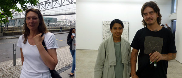 Left: National Museum director of contemporary art Sabrina van der Ley. Right: Dealer Esperanza Rosales with artist Oscar Tuazon.
