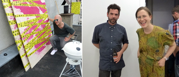 Left: Artist Ilja Karilampi on the roof at 1857. Right: Artists Santiago Taccetti and Rebecca Stepheny at Kazachenko's Apartment.