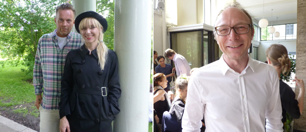 Left: Artists Peter Amdam and Josefine Lyche at LYNX. Right: Kunstnernes Hus director Mats Sternstedt.