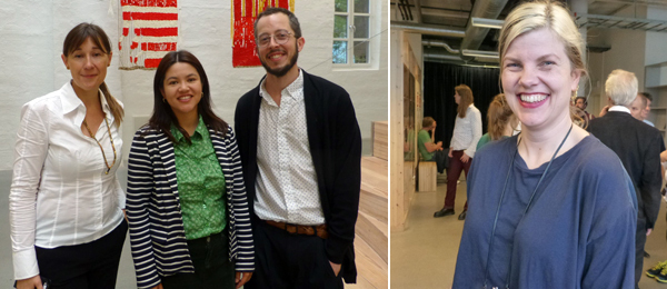 Left: Office of Contemporary Art's Katya García-Antón, Tara Ishizuka Hassel, and Antonio Cataldo.  Right: Artist Eline Mugaas.