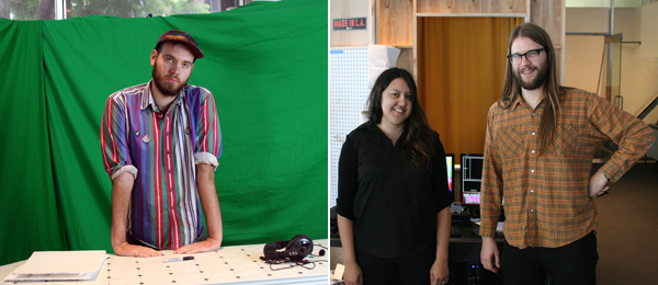 Left: Artist and KCHUNG VJ Johnny JungleGuts. Right: Experimental Half-Hour producers Eva Aguila and Brock Fansler. (All photos: Travis Diehl)
