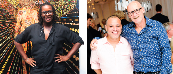 Left: Artist Mickalene Thomas. Right: Artists Dzine and Jim Hodges. (Photos: Billy Farrell/BFAnyc.com)