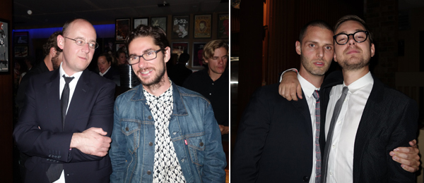 Left: Neubauer Collegium curator Jacob Proctor with Frieze's Dan Fox. Right: Dealers Cristopher Canizares and Alex Logsdail. (Photos: Ryan Gander)