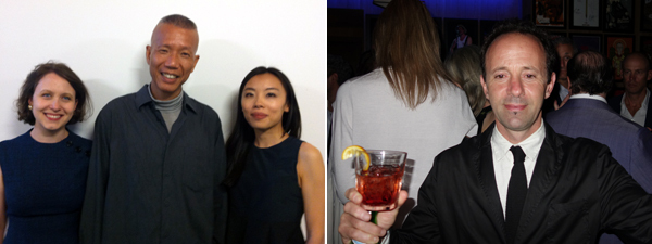 Left: Artist Cai Guo-Qiang (center). (Photo: Annie Godfrey Larmon) Right: Artist Gabriel Kuri. (Photo: Ryan Gander)