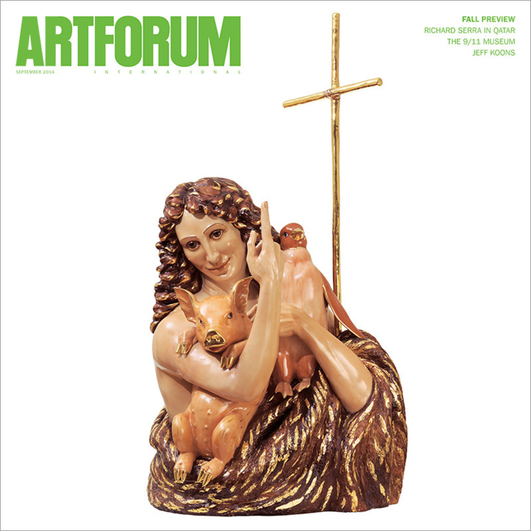 "Cover: Jeff Koons, Saint John the Baptist, 1988, porcelain, 56 1/2 × 30 × 24 1/2"". From the series ""Banality,"" 1988."