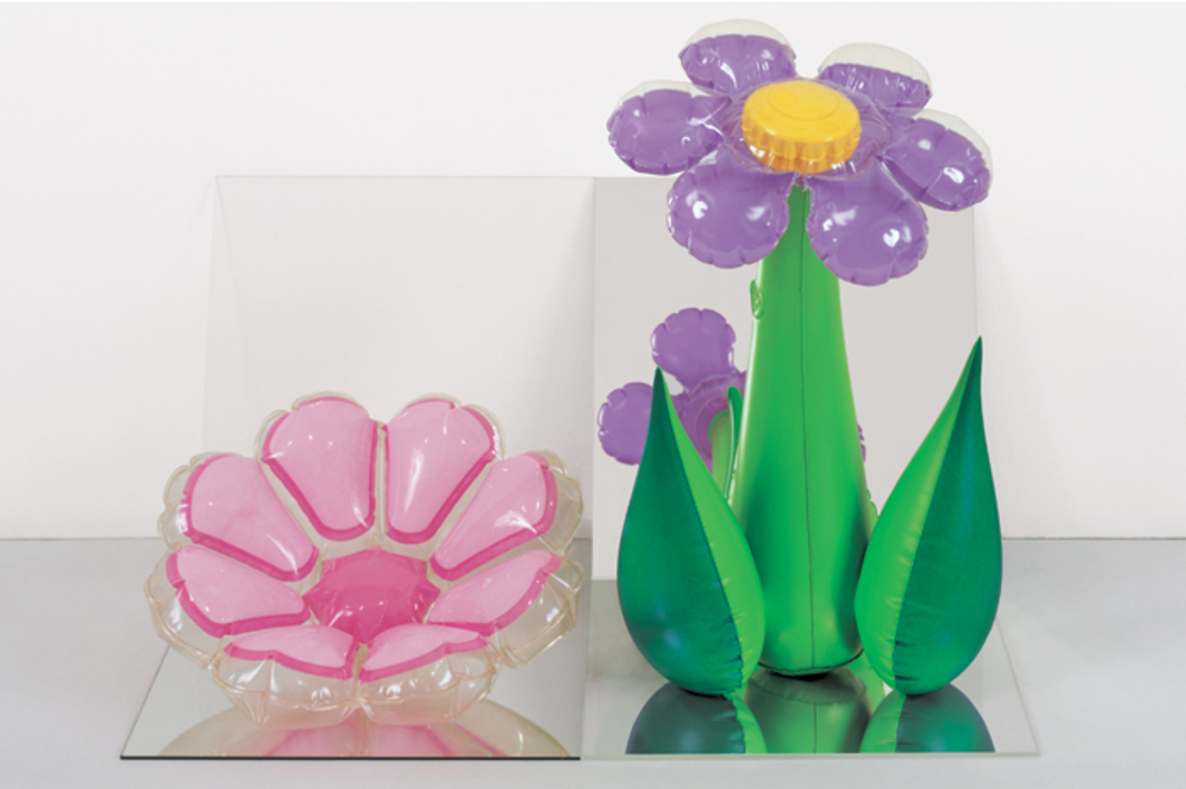 "Jeff Koons, Inflatable Flowers (Short Pink, Tall Purple), 1979, vinyl, mirror, acrylic, 16 × 25 × 18"". From the series ""Inflatables,"" 1978–79."