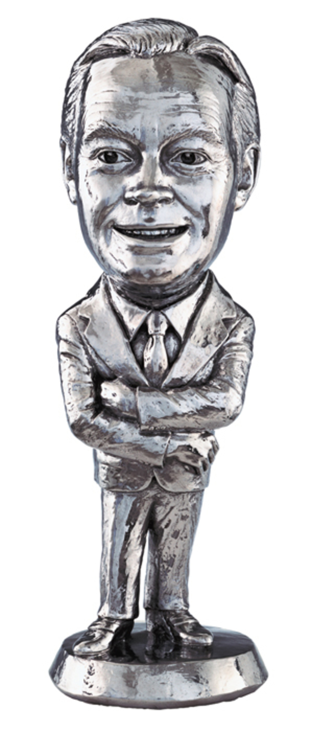 "Jeff Koons, Bob Hope, 1986, stainless steel, 17 × 5 1/2 × 5 1/2"". From the series ""Statuary,"" 1986."
