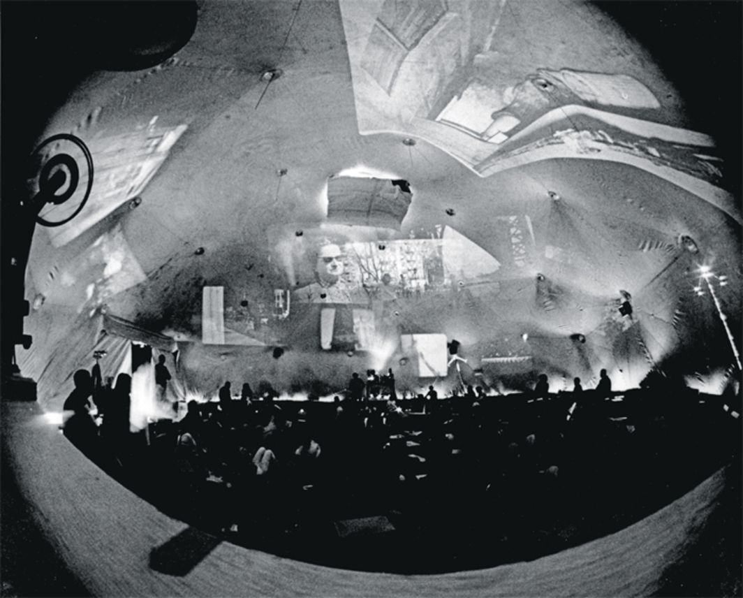 Stan VanDerBeek, Movie-Drome, 1963–65. Performance view, Stony Point, NY, ca. 1965.