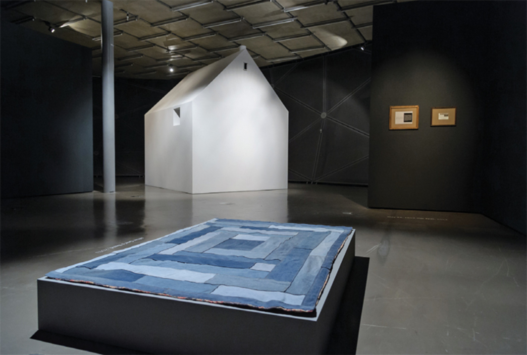 "View of ""James Benning: Decoding Fear,"" 2014. Foreground: After Gee's Bend, 2013. Background, from left: Architectural Rendering (Two Cabins), 2014; Data Entry, 2014; May 22, 1942 (for Ted), 2013. Photo: UMJ/N. Lackner."