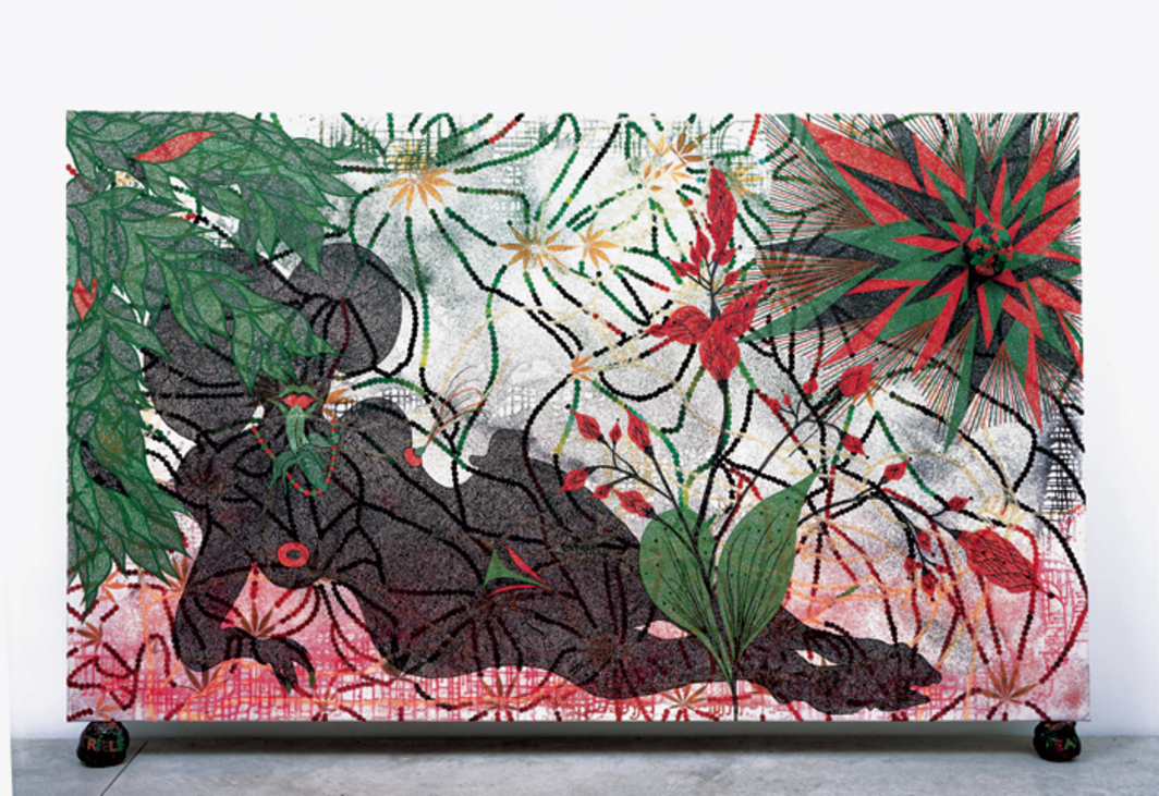 "Chris Ofili, Triple Beam Dreamer, 2001–2002, acrylic, oil, leaves, glitter, polyester resin, map pins, and elephant dung on linen, 72 × 120""."