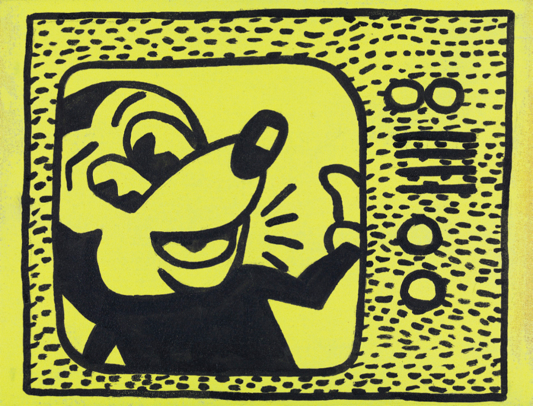 "Sturtevant, Haring Tag July 15 1981, 1985, sumi ink and acrylic on cloth, 9 7/8 × 12 7/8""."