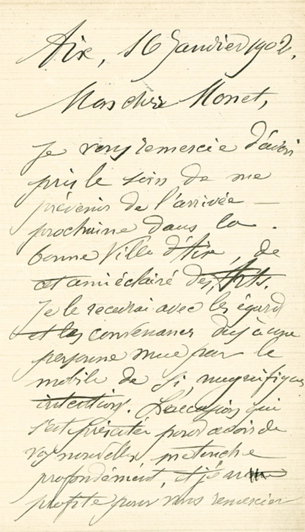 Letter from Paul Cézanne to Claude Monet, January 16, 1902. Photo: Musée des Lettres et Manuscrits, Paris.