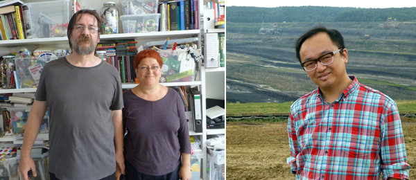 Left: Artists Dan and Lia Perjovschi pose in front of Lia's Contemporary Art Archive in their home in Sibiu. Right: Artist and architect Thomas Tsang at the open pit mine in Rovinari.