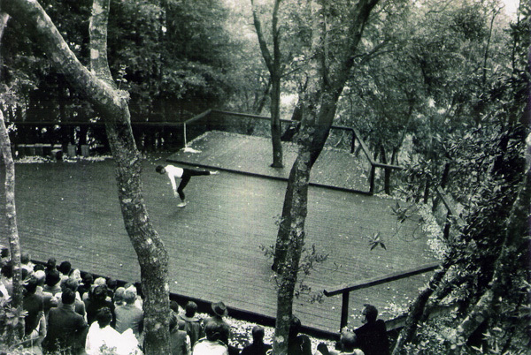 Merce Cunningham performing on the deck at Anna Halprin's estate.