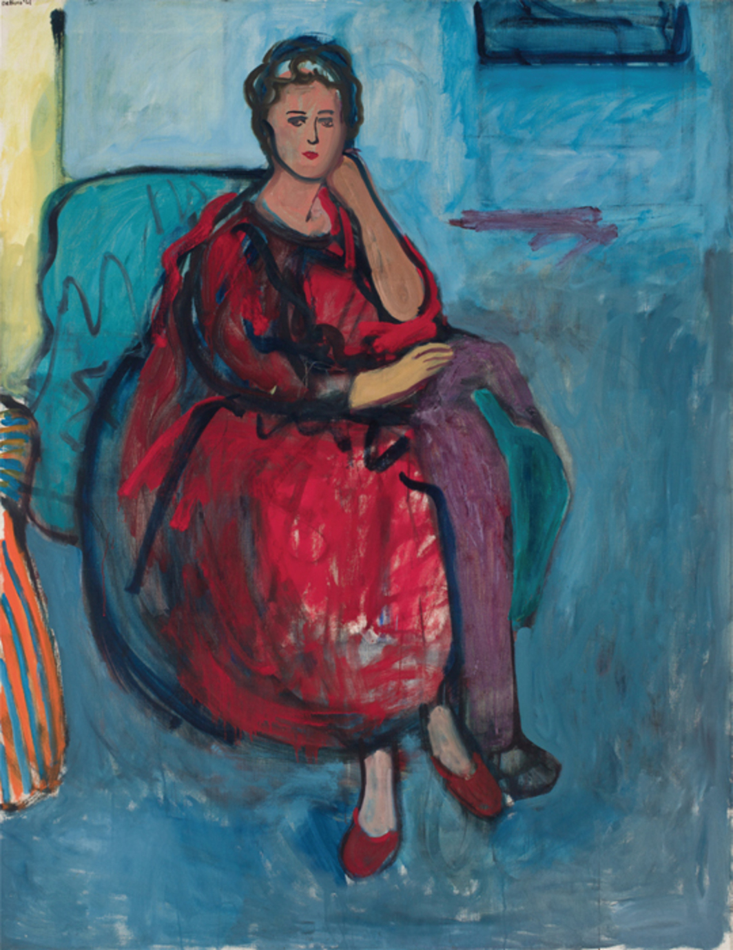 "Robert De Niro Sr., Woman in Red, 1961, oil on linen, 70 × 54""."