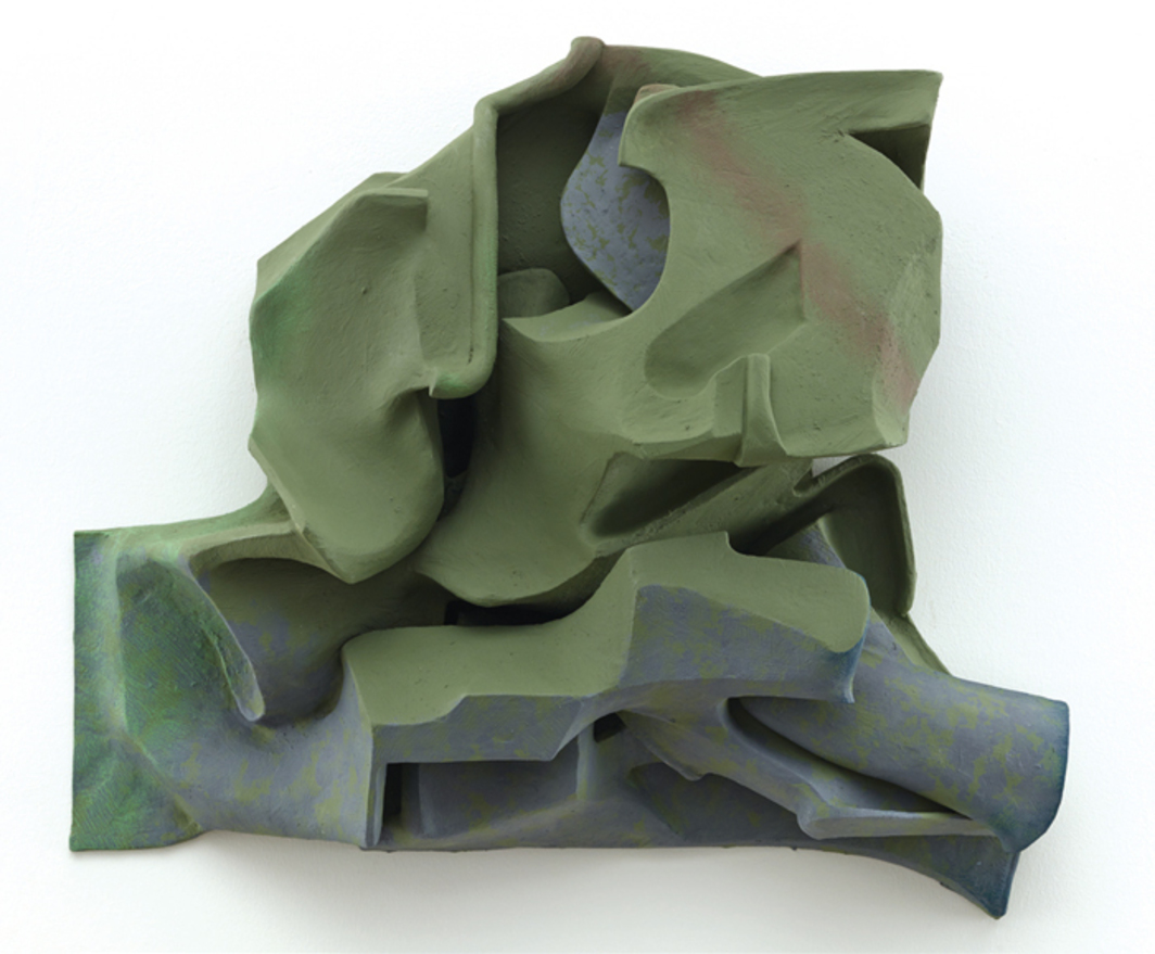 "Vincent Fecteau, Untitled, 2014, resin clay, acrylic paint, 24 × 26 × 8""."