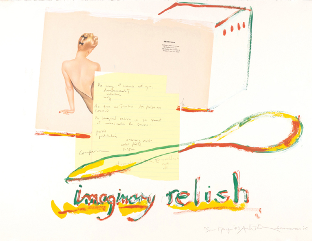 "George Schneeman and Anne Waldman, Imaginary Relish, 2005, mixed media on paper, 19 1/2 × 26""."