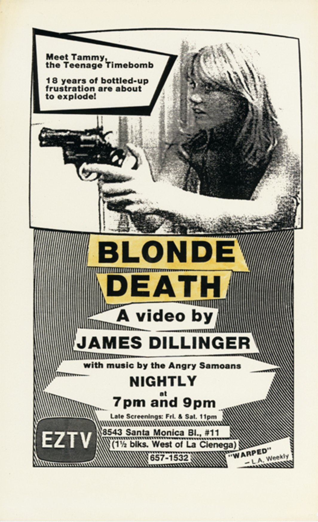"Flyer by John Dorr for James Dillinger's 1983 feature-length video Blonde Death. From ""EZTV: Video Transfer."""