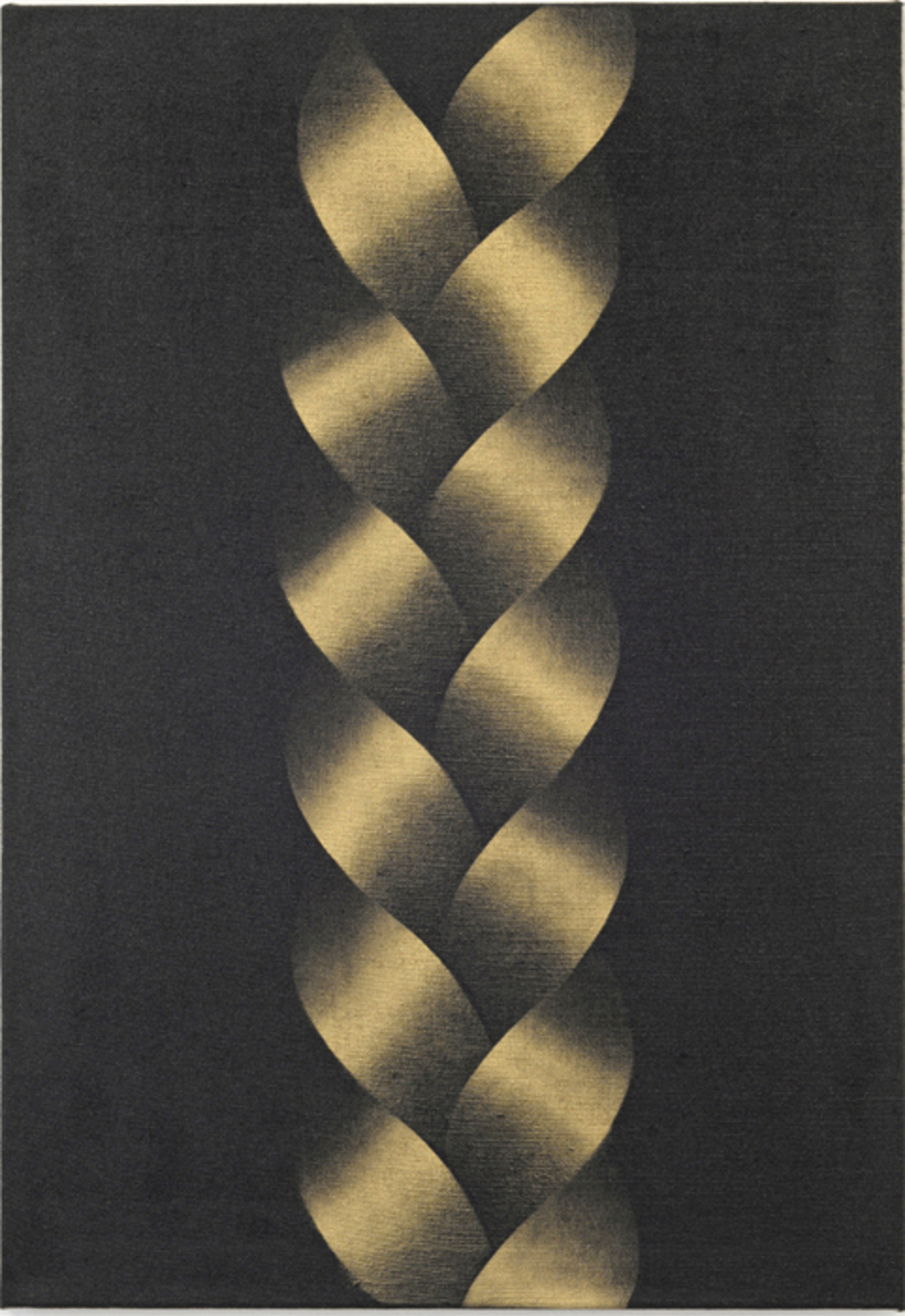 "Michael Hakimi, Zopf (Plait), 2014, spray paint and lacquer on linen, 35 × 26 3/4""."