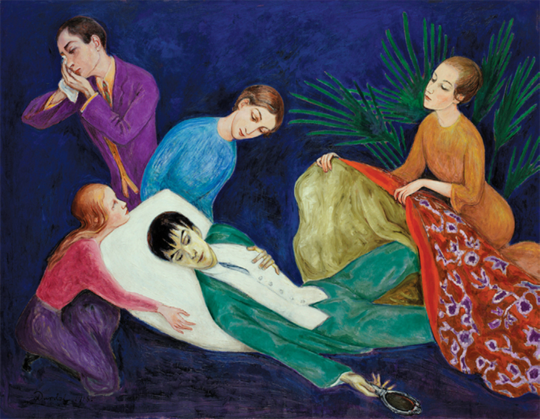 "Nils Dardel, Den döende dandyn (The Dying Dandy), 1918, oil on canvas, 55 × 70 7/8""."