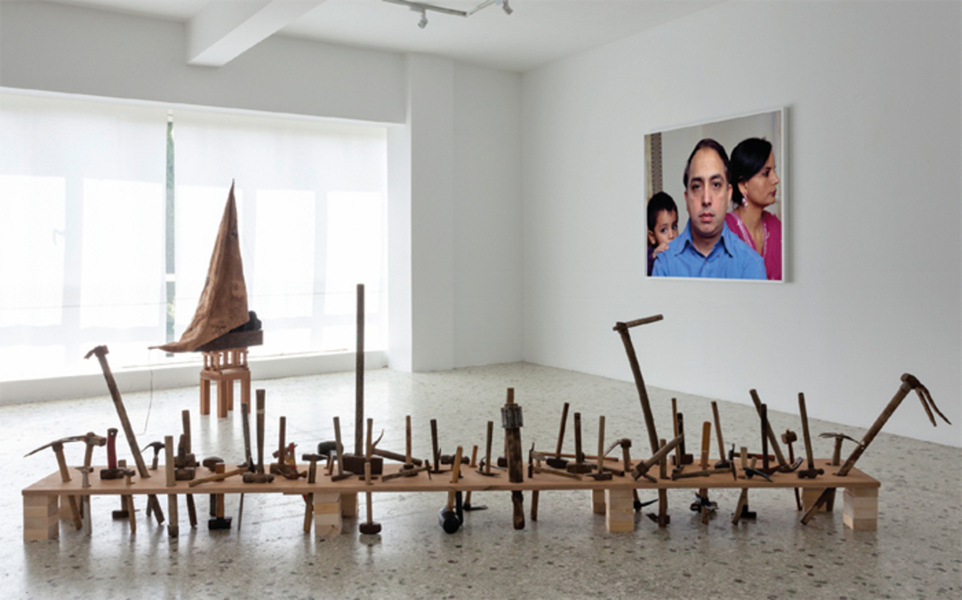 "View of ""Nikos Markou and Kostis Velonis,"" 2014. Foreground: Kostis Velonis, Who Might Rebuild?, 2014. Background, from left: Kostis Velonis, Model for the Prospect of Shipwreck, 2013; Nikos Markou, 02.03.2013."