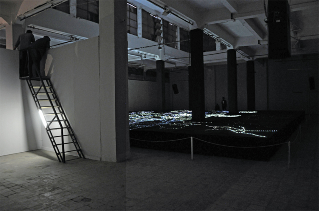 Magdi Mostafa, The Surface of Spectral Scattering, 2014, LED lights, eight-channel audio, fabric. Installation view.